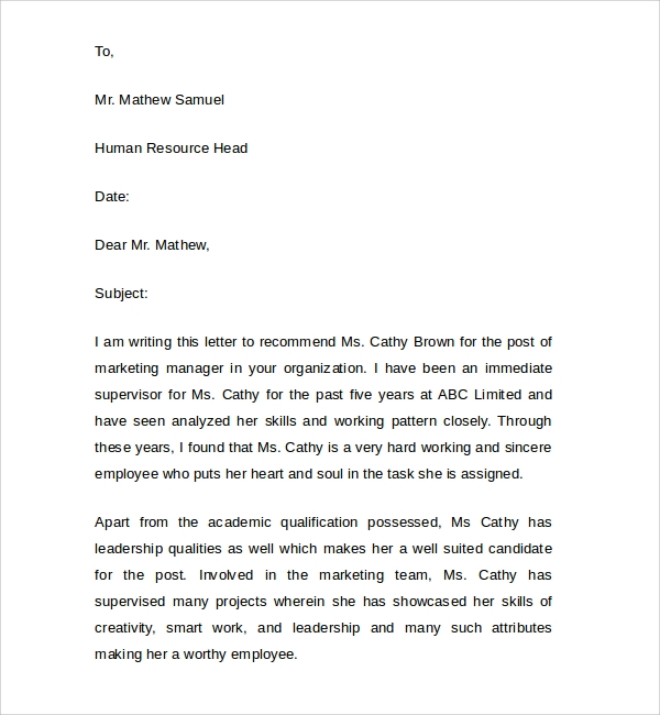 letter of recommendation thesis supervisor