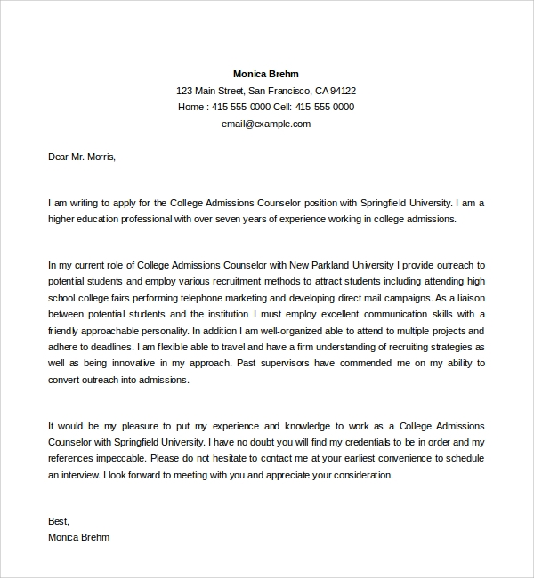 college admissions counselor cover letter - Sample Cover Letter For Counselor