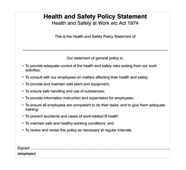 10 safety statement templates to download sample templates for Health and safety statement of intent template