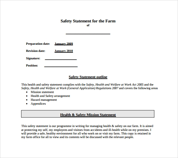 health and safety statement of intent template - sample safety statement template 9 free documents in pdf