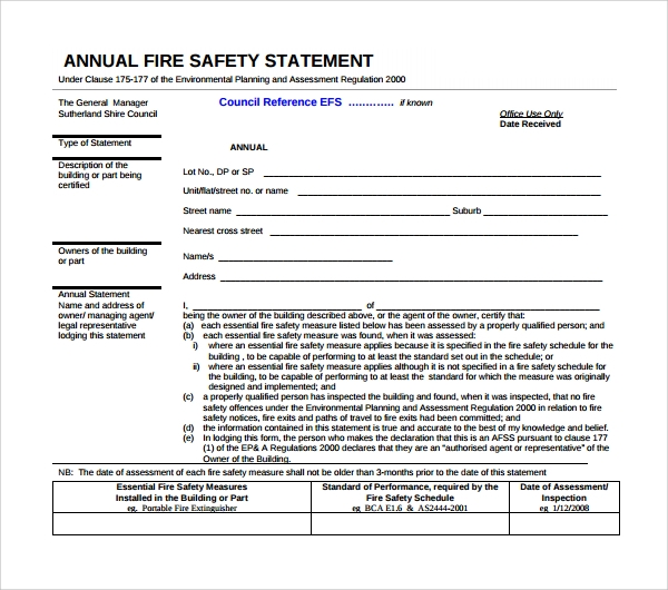 10 safety statement templates to download sample templates annual fire safety statement template maxwellsz