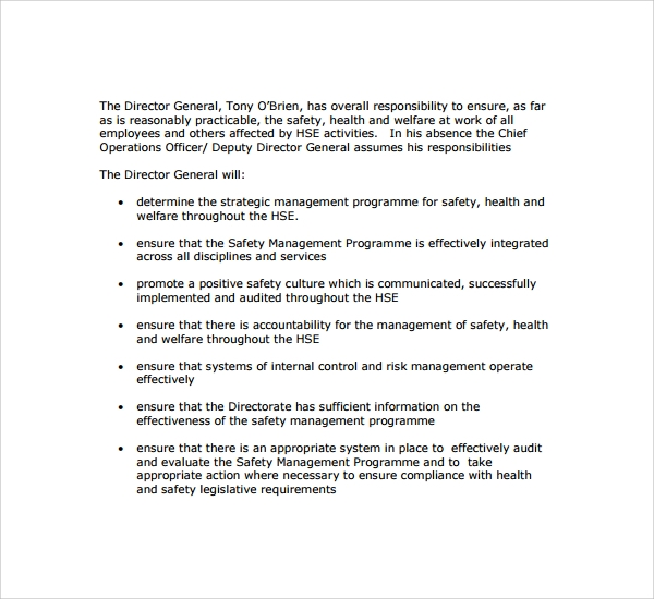 Sample Safety Statement Template 9 Free Documents in PDF – Safety Statement Template