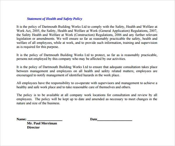 Hse Health And Safety Policy Template 10 Safety Statement Templates To Download Sample Templates
