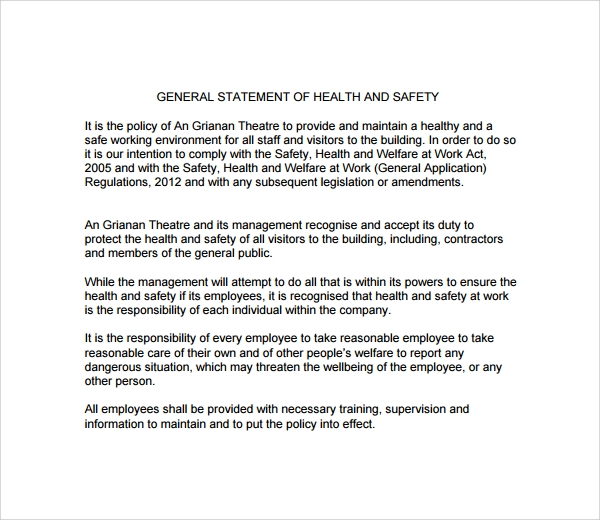 Sample Safety Statement Template 9 Free Documents in PDF – Sample Health and Safety Policy