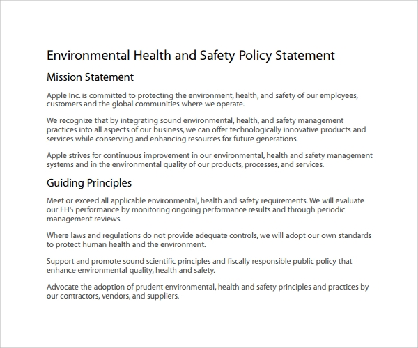 Health And Safety Policy Examples Pictures to Pin – Safety Statement Template