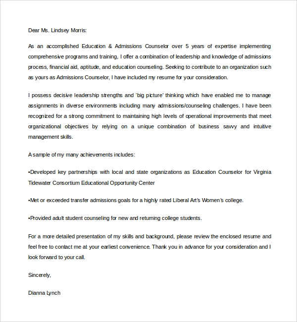 Sample Admission Counselor Cover Letter - 5+ Free Documents ...