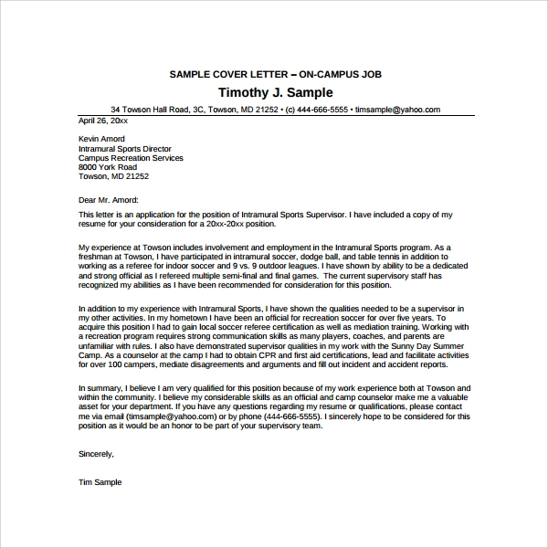 Sample Camp Counselor Cover Letter -6+ Free Documents In Pdf , Word