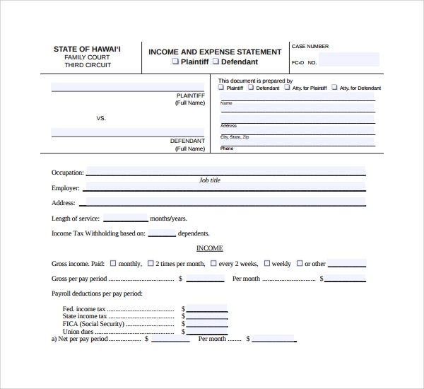 sample expense statement template%ef%bb%bf
