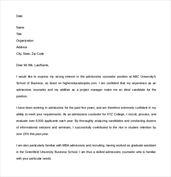 sample admission counselor cover letter