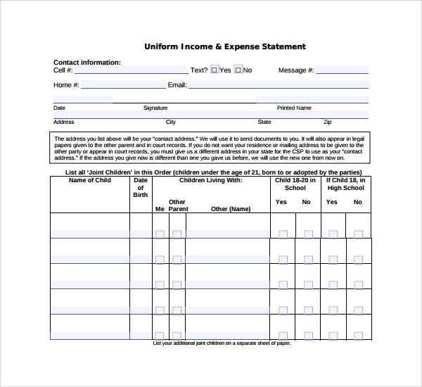 sample expense statement template