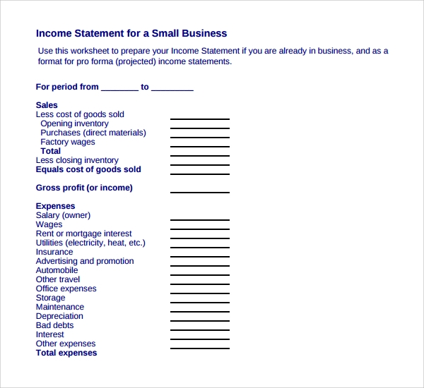 8 business statement templates to download sample templates business income statement template wajeb Image collections