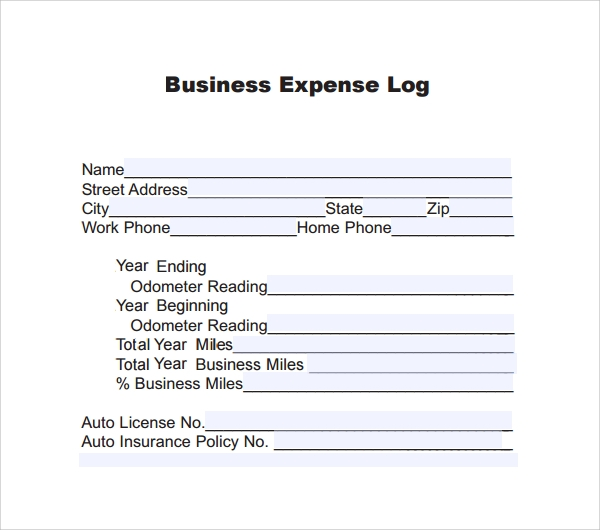 business expense log template