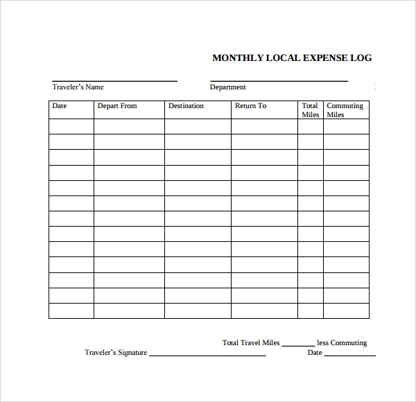 free 9  sample expense log templates in pdf