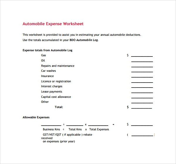 auto expense worksheet koni polycode co