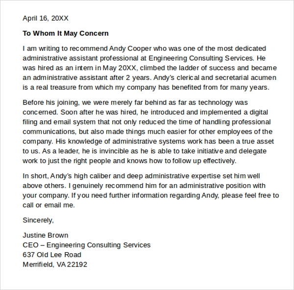 Letter Of Recommendation Administrative Assistant  Docoments Ojazlink