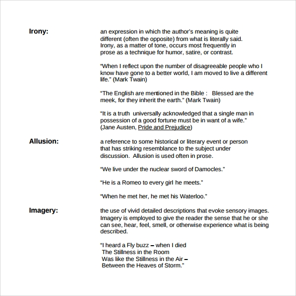Sample Figure Of Speech Example Template   Free Documents In