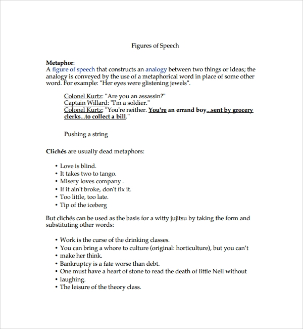 Sample Figure of Speech Example Template 8 Free Documents in – Figure of Speech Example Template