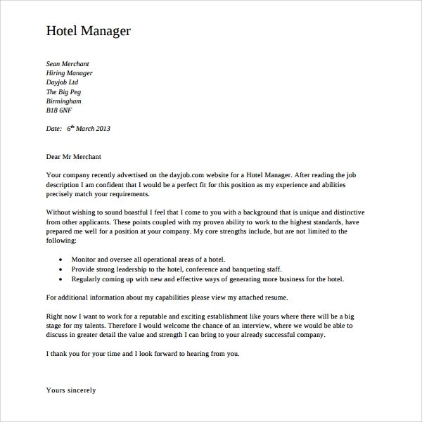 hotel director of operations cover letter