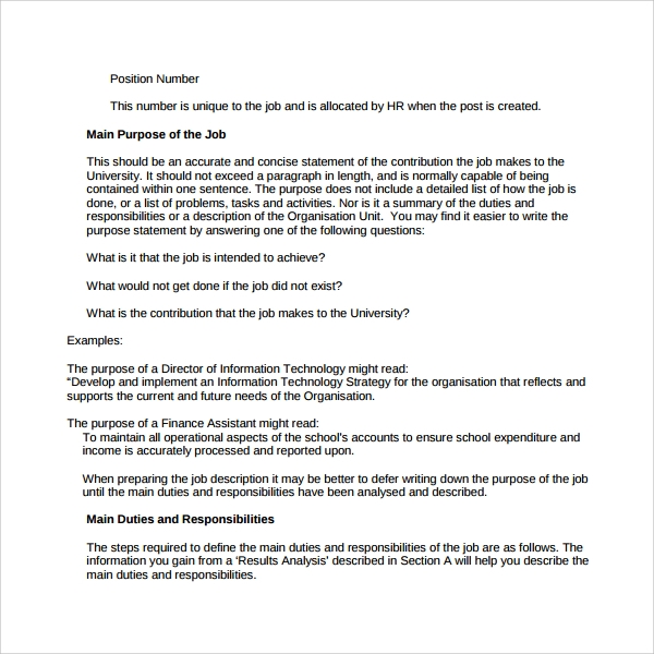 Job Purpose Statement Template