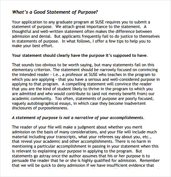 Sample Purpose Statement Template 9 Free Documents in PDF Word – Purpose Statement Template