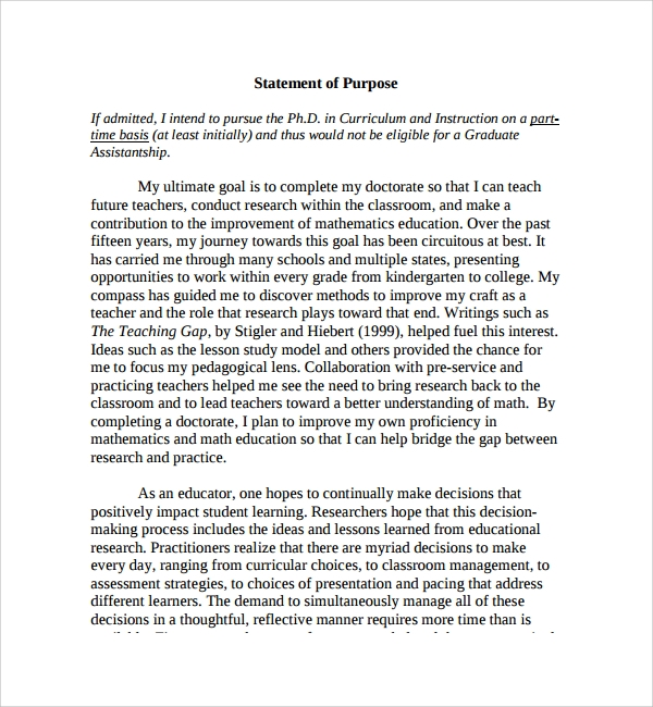 Sample Purpose Statement Template 9 Free Documents in PDF Word – Statement of Intent Template
