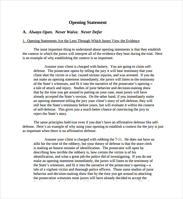 resume opening statement template