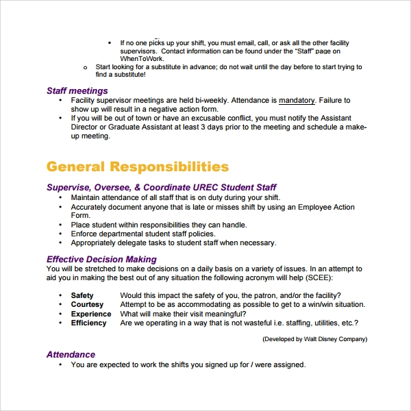 Sample Staff Manual Template   Free Documents In Pdf
