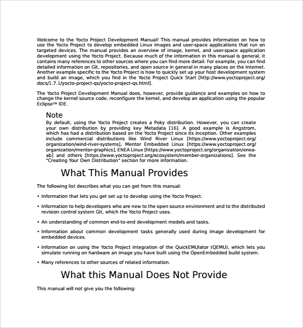 Sample Project Manual Template   Free Documents In