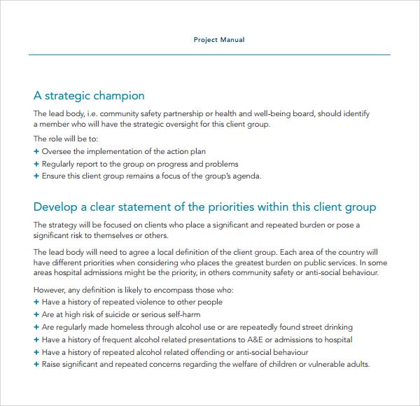 project manual template pdf