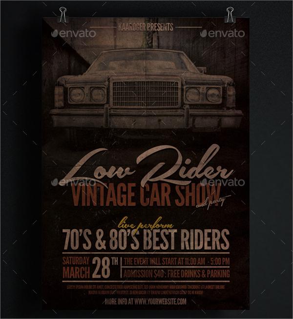 grunge car show flyer template