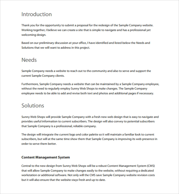 web design proposal template word