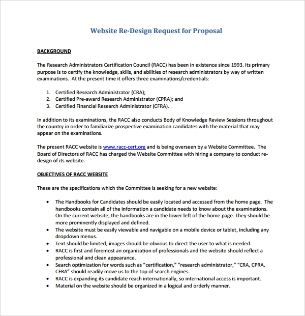 website re design proposal template