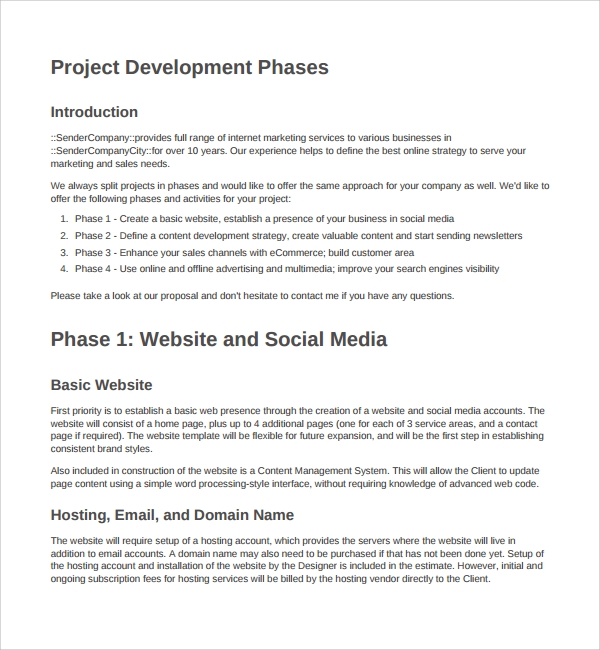 dfwebsite development proposal template