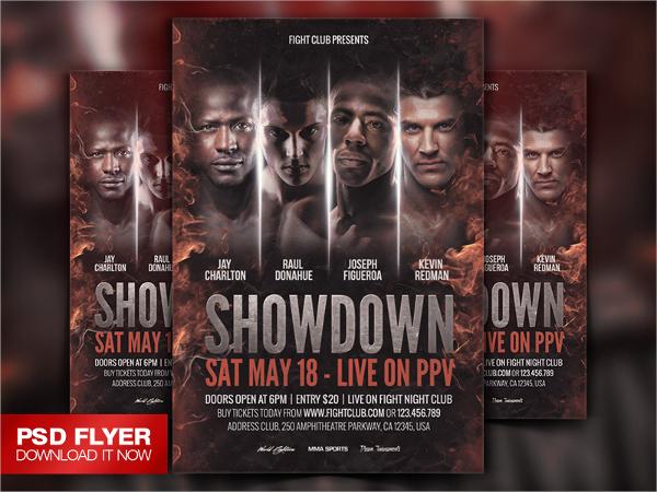 showdown fight night psd flyer