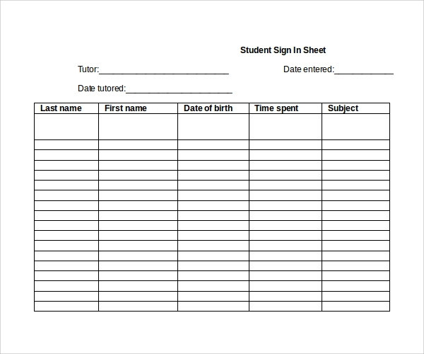 Sample Student Sign In Sheet - 6+ Free Documents Download in Word, PDF