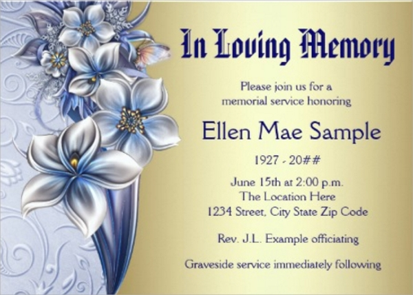 Sample Funeral Invitation Template - 7+ Documents Download ...