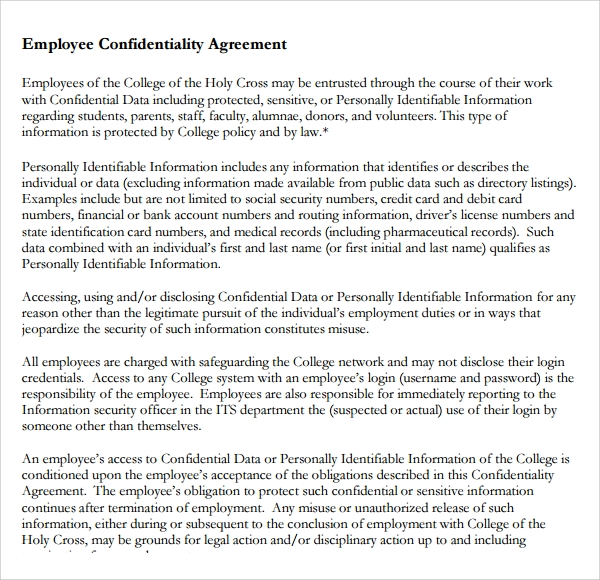 Sample Employee Confidentiality Agreement   Free Documents