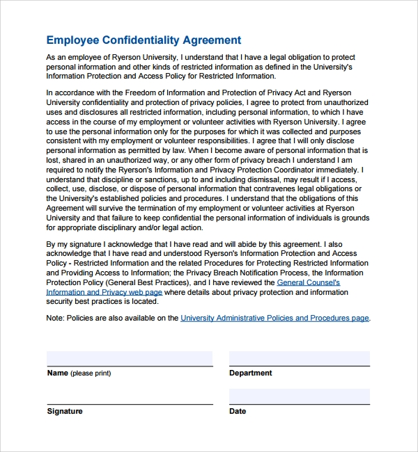 9 employee confidentiality agreements sample templates. Black Bedroom Furniture Sets. Home Design Ideas