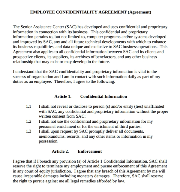 picture regarding Free Printable Confidentiality Agreement Form identified as Confidentiality Arrangement Pattern - Absolutely free Printable Information