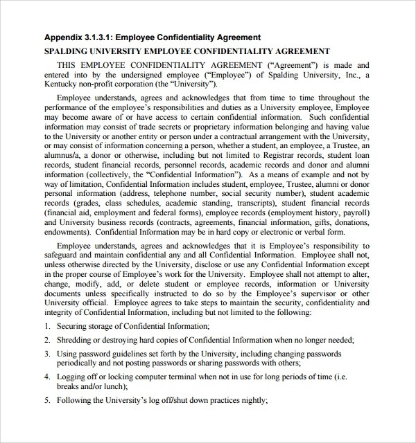 simple employee confidentiality agreement