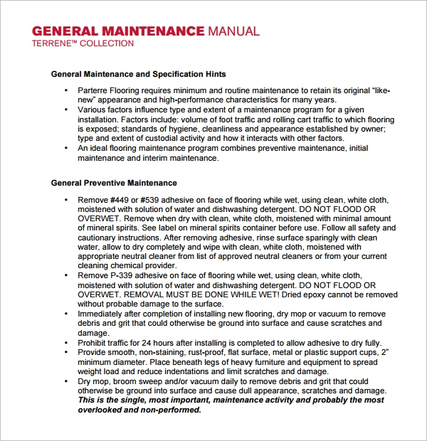 Sample Maintenance Manual Template 8 Free Documents In Pdf Word