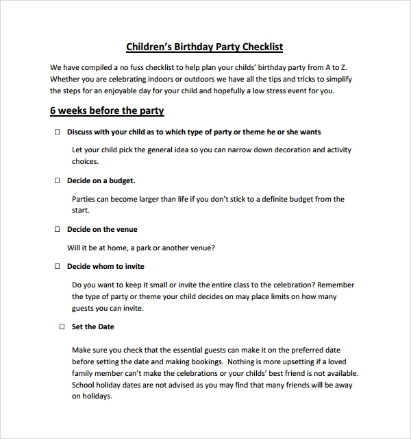birthday party checklist 7 birthday checklist templates to sample 28932