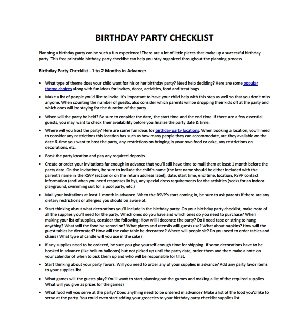 Sample Birthday Party Checklist Template 6 Free Documents in PDF – Birthday Party Checklist Template