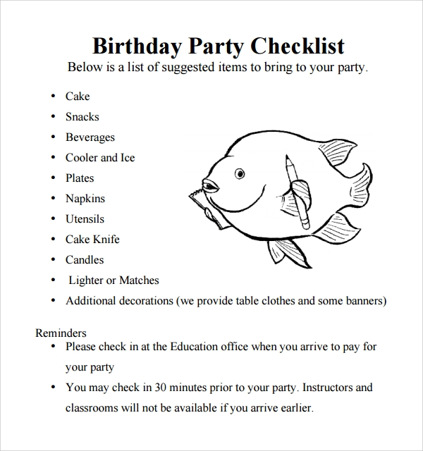 example of birthday party checklist template