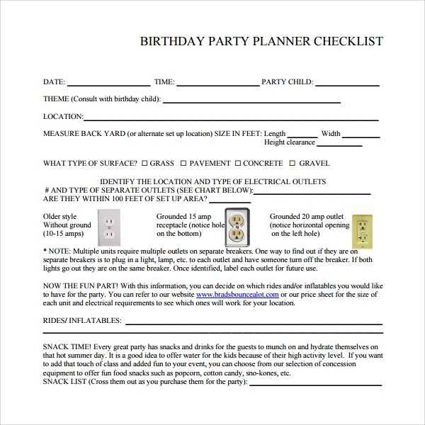 Sample Birthday Party Checklist Template   Free Documents In Pdf