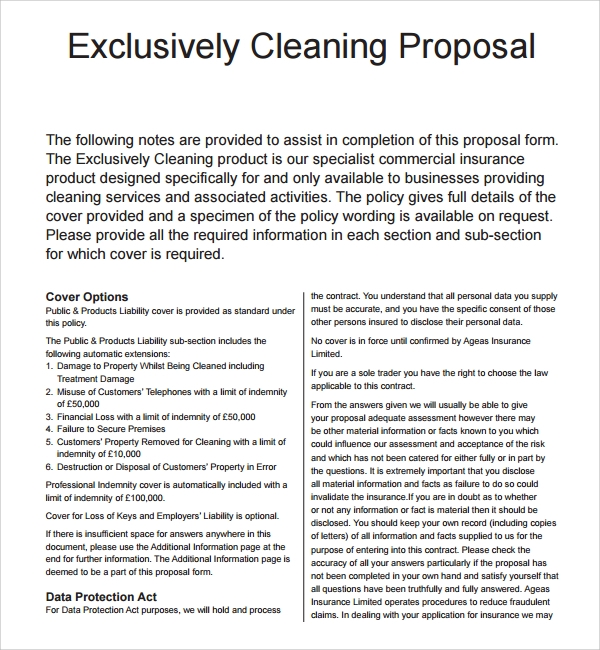 Sample Cleaning Proposal Template 9 Free Documents in PDF – Commercial Proposal Template