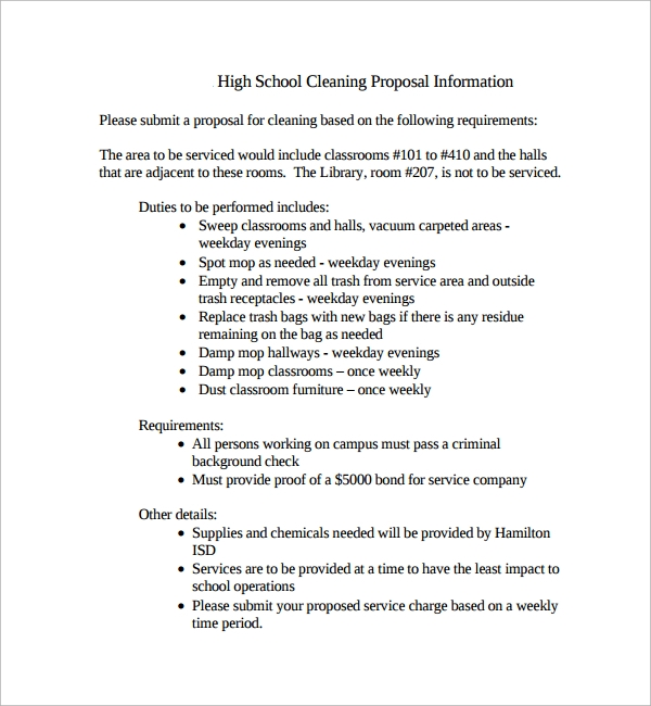 Sample Cleaning Proposal Template   Free Documents In Pdf
