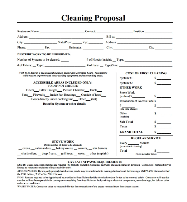 simple cleaning proposal template