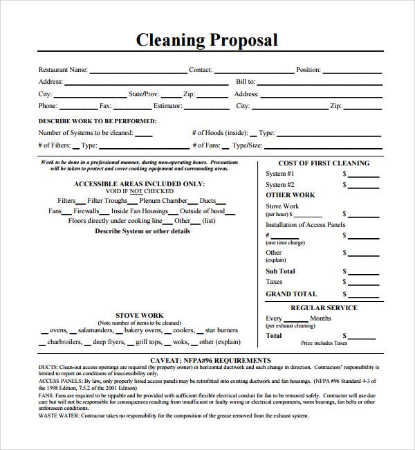 cleaning proposal template free - Etame.mibawa.co