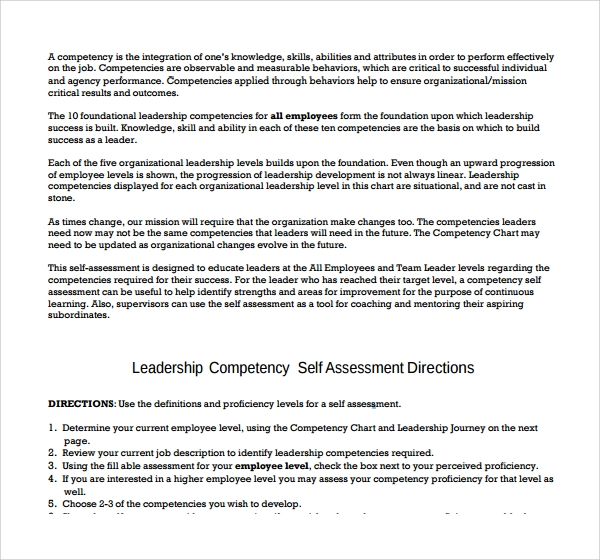 Sample Competency Assessment Template - 6+ Free Documents Download